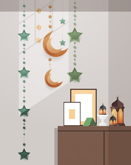 Eastern traditional living room interior with decoration eid mubarak ramadan kareem muslim religion holy month flat vertical