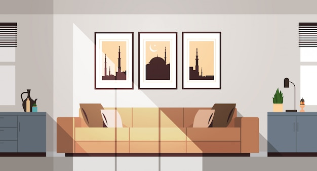Eastern traditional living room interior with furniture and pictures on wall ramadan kareem muslim religion holy month flat horizontal
