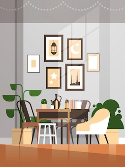 Eastern traditional living room interior with pictures and furniture ramadan kareem muslim religion holy month flat vertical