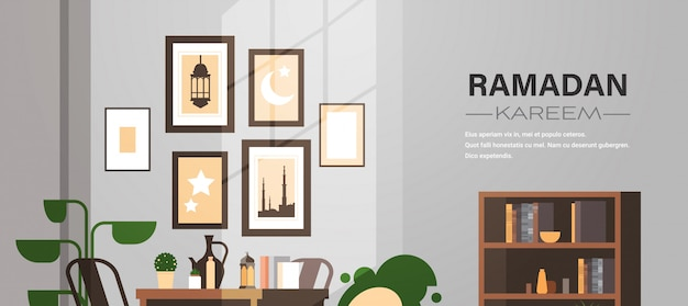 Eastern traditional living room interior with pictures ramadan kareem muslim religion holy month flat horizonta copy space