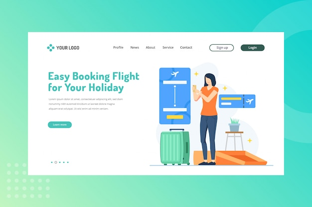 Easy booking flight for your holiday illustration for travelling concept on landing page