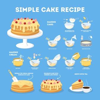 家で調理するための簡単なクリームレシピ付きケーキ
