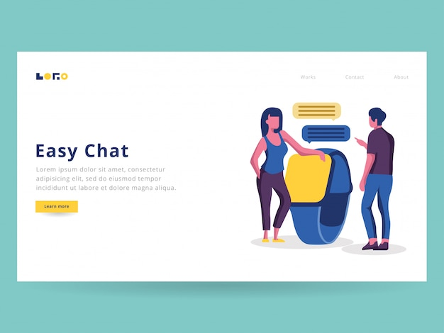 Easy chat illustration for landing page
