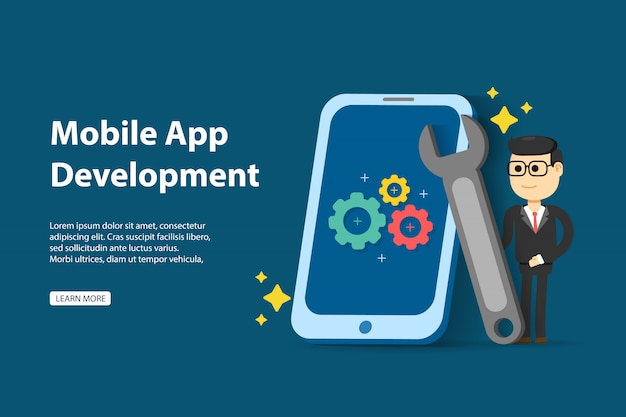 Easy to edit and customize. mobile app development concept
