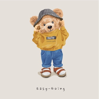Легкий лозунг с милой куклой-медведем в повседневной одежде