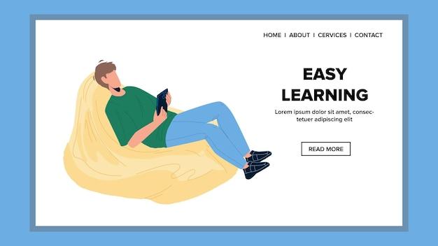 Мальчик урока легкого обучения на векторе смартфона. молодой человек сидит на фасоли и легкий учебный курс на цифровом электронном планшете. персонаж интернет образования веб плоский мультфильм иллюстрация