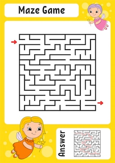 Easy maze worksheet with fairies