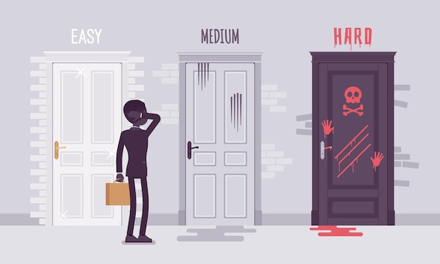 Easy, medium, hard degree of difficulty choice for businessman. male manager puzzled with a business challenge level, employee choosing between three doors.