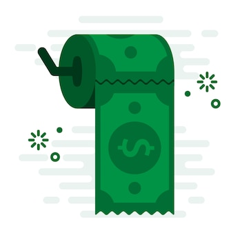 Easy money support toilet paper financial concept vector illustration