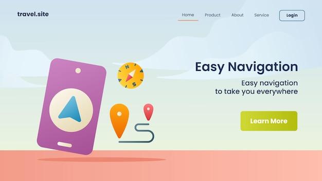 Easy navigation campaign for web website homepage landing