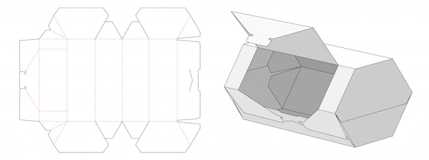 Easy openable hexagon shaped packaging box die cut template design