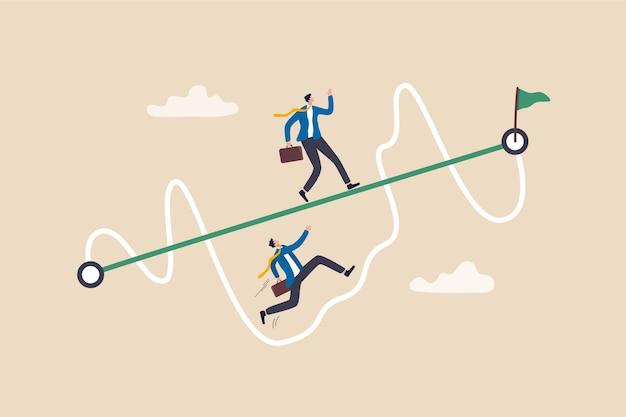 비즈니스 성공 또는 어려운 경로와 장애물 개념을이기는 쉽고 간단한 방법.