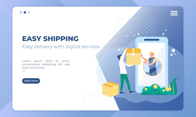 Easy shipping illustration using the mobile application