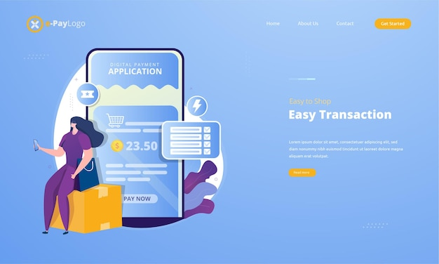 Easy to shop using digital payment application on illustration concept