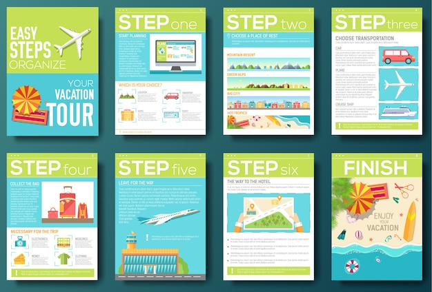 Easy steps organize for your vacation tour flyer with infographics and placed text