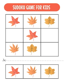 Рабочие листы easy sudoku для детей с kawaii autumn
