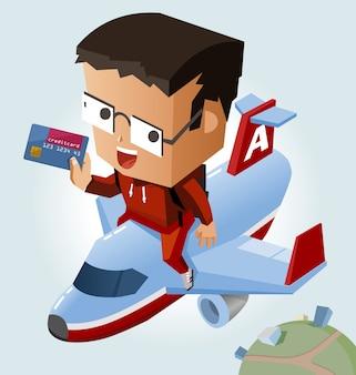 신용 카드로 쉽게 여행 프리미엄 벡터