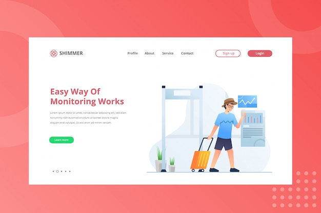 Easy way of monitoring works illustration for working from home concept on landing page