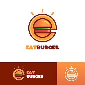 햄버거 편지 e 로고 템플릿 먹기