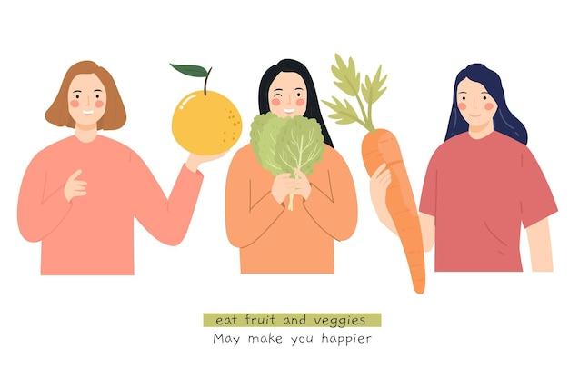 과일과 채소 일러스트를 먹다