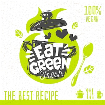 녹색 수프 사랑 심장 로고 신선한 유기농 조리법 백퍼센트 완전 채식주의자를 먹는다. 손으로 그린.