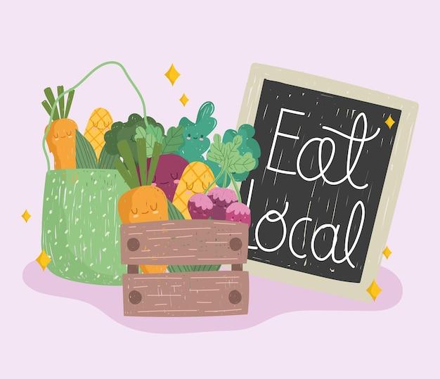 Ешьте местную доску, деревянную корзину и эко-сумку с овощами, свежие продукты, мультяшный векторная иллюстрация