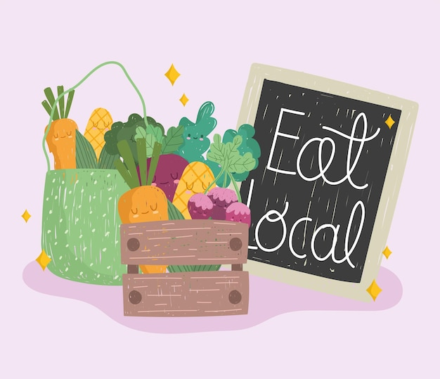 Eat local board, wood basket and eco bag with vegetables fresh food cartoon vector illustration Premium Vector