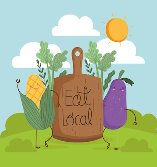Eat local cartoon