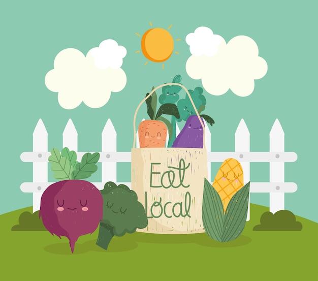 Eat local food cartoon