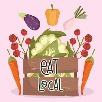Ешьте местные свежие продукты овощи помидоры морковь баклажаны перец и цветную капусту в корзине векторные иллюстрации