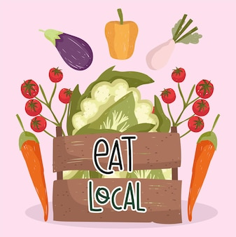 Eat local fresh food vegetables tomatoes carrot eggplant pepper and cauliflower in basket vector illustration Premium Vector