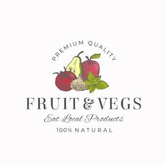 지역 과일과 야채를 먹으십시오 추상적 인 기호, 상징 또는 로고