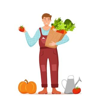 地元の有機製品の漫画のベクトルの概念を食べる。栽培野菜とパッケージを保持している幸せな農家のキャラクターの男性のカラフルなイラスト。農産物を販売するためのエコロジカルマーケットデザイン