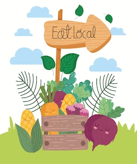 Eat local wooden signpost