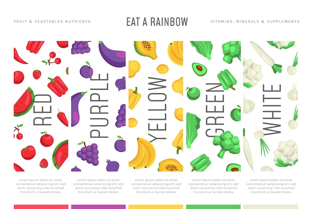 Eat a rainbow infographic concept