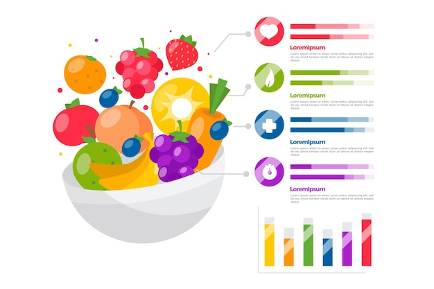 Eat a rainbow infographic template concept