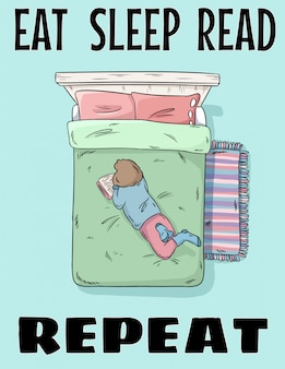 Ешь спать, читай, повторяй. девушка, читающая книгу на кровати. рисованной иллюстрации в стиле комиксов