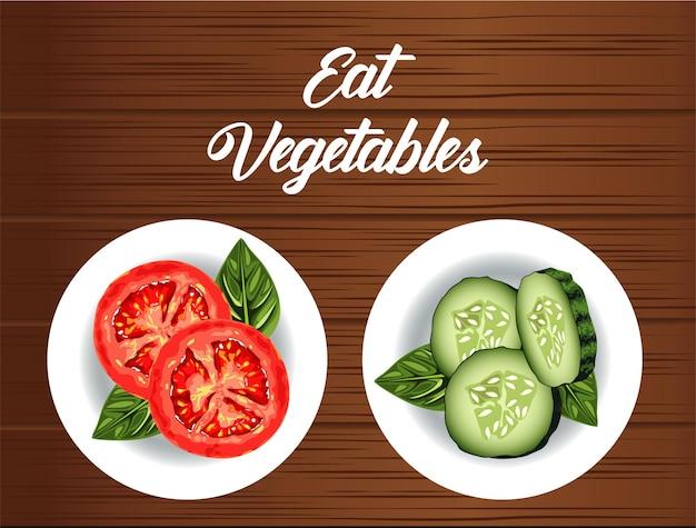 Ешьте овощи надписи плакат со здоровой пищей в блюдах