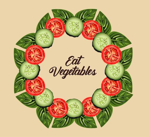 トマトとキュウリのスライスと野菜のレタリングポスターを食べる