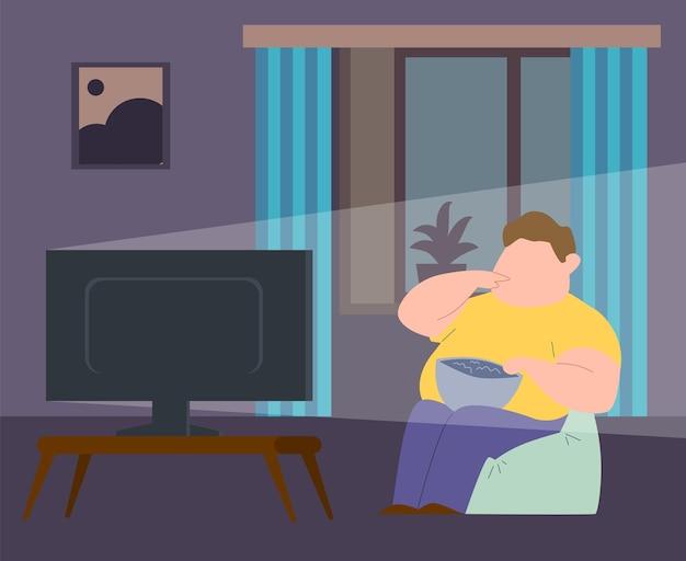 中毒を食べる。椅子に座って、テレビを振って、ファーストフードを食べている太った男。肥満、過食症、不健康なライフスタイルの概念。フラット漫画ベクトルイラスト