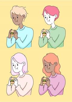 Eating burger junkfood cute people illustration