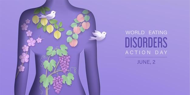 День расстройства пищевого поведения фон с бумажной многослойной фигурой женщины и фруктовыми ветками