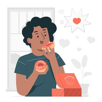 Eating donuts concept illustration