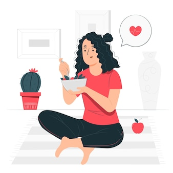 Eating healthy food concept illustration