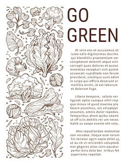 Eating healthy food and living green, zero waste and no use of plastic. environment improvement and recycling. veggies full of vitamins. cabbages and salads. monochrome sketch outline, vector in flat