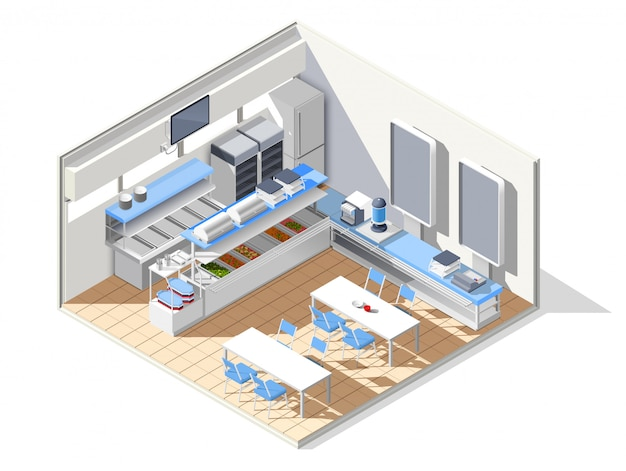 Eating house isometric composition