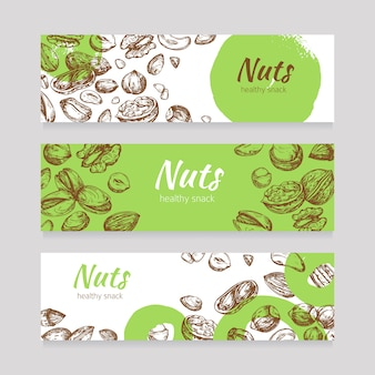Eating nuts and seeds banners. healthy food banner set in engraving style