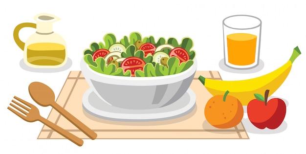 샐러드를 먹는. 인생을위한 다이어트 음식. 혜택이있는 건강 식품