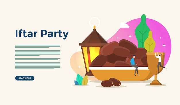 Eating together after fasting feast iftar party. moslem family dinner on ramadan kareem or eid celebrating with people character concept for web landing page template