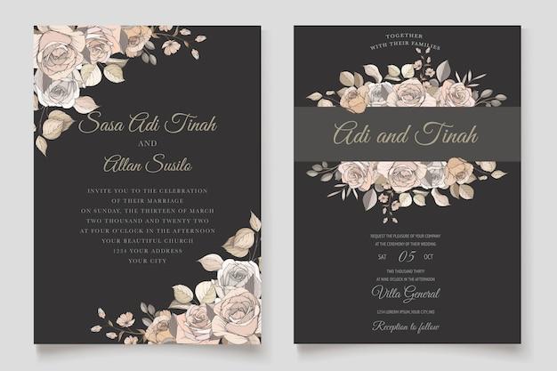 美しい手描きのバラとユリの結婚式の招待カードセット